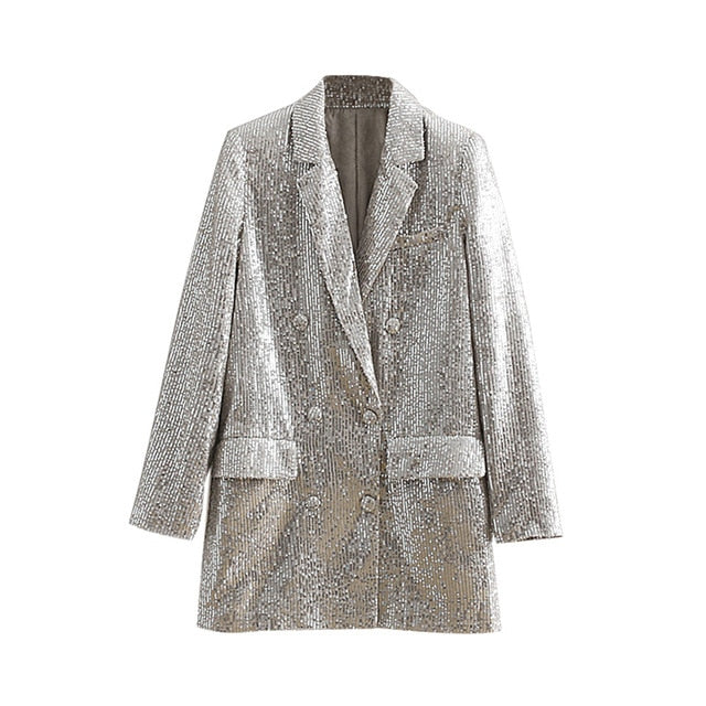 Women Double Breasted Sequin Blazers
