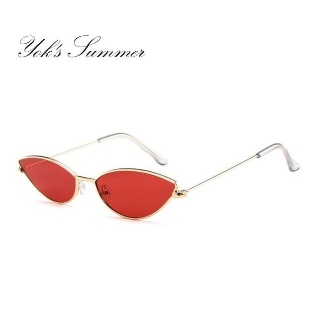 Women Small Cat Eye Sunglasses Metal Frame