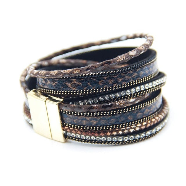 Women Leather  wrap Magnetic Bracelets