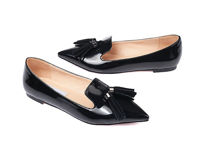 Women  Shoes Tassel Patent Leather Metallic Pointed Toe