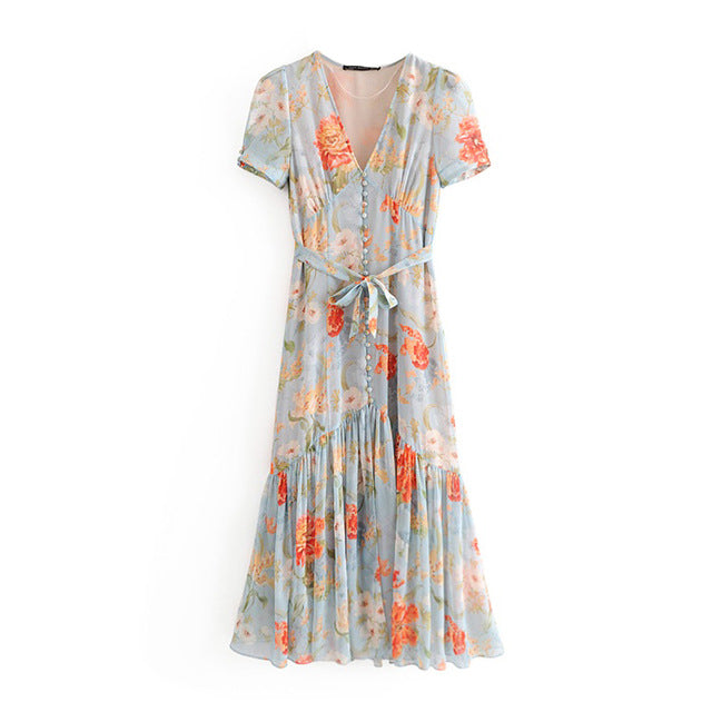 Floral Print Buttons Pleated Midi Dress