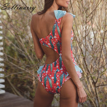 Charger l'image dans la galerie, Women  Bow One Shoulder Swimsuit Floral Print