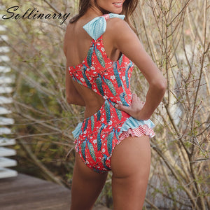 Women  Bow One Shoulder Swimsuit Floral Print