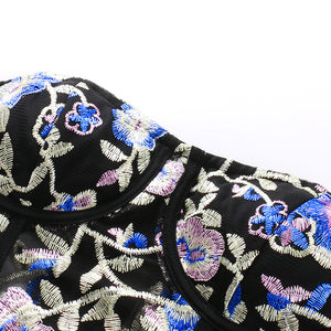 Women Vintage Embroidery Floral Tube Top