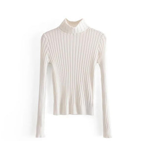 Women Solid Color Turtleneck Rib Knit Crop Sweater