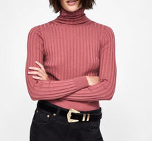 Charger l'image dans la galerie, Women Solid Color Turtleneck Rib Knit Crop Sweater