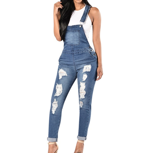 CALOFE 2019 New Spring Women Overalls Cool Denim Jumpsuit Ripped Holes Casual Jeans Sleeveless Jumpsuits Hollow Out Rompers 2XL