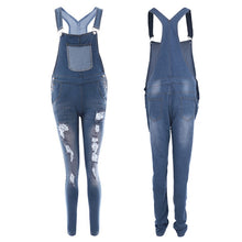 Charger l'image dans la galerie, CALOFE 2019 New Spring Women Overalls Cool Denim Jumpsuit Ripped Holes Casual Jeans Sleeveless Jumpsuits Hollow Out Rompers 2XL
