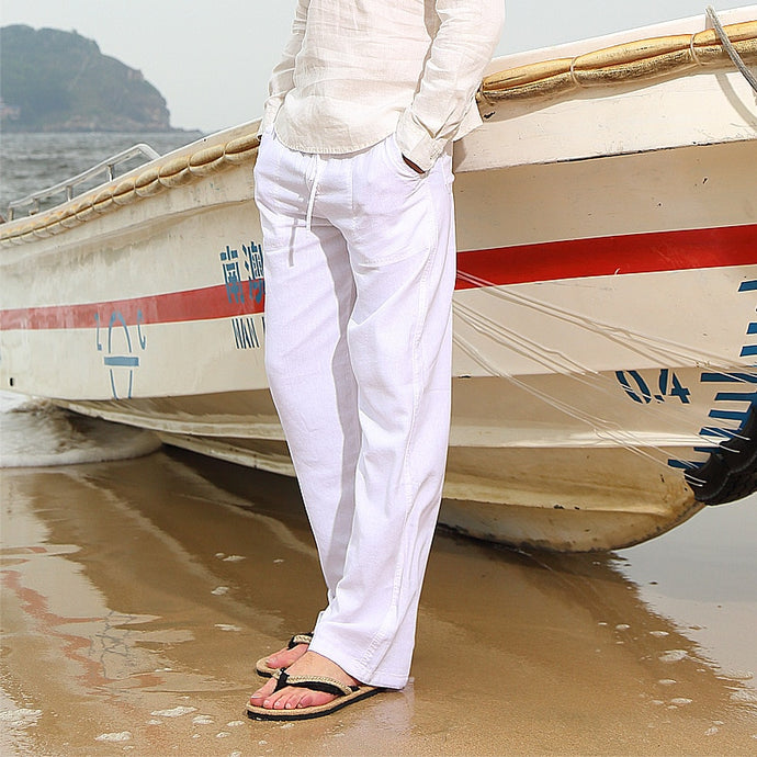 Men Women Straight Cotton Linen wide leg pants