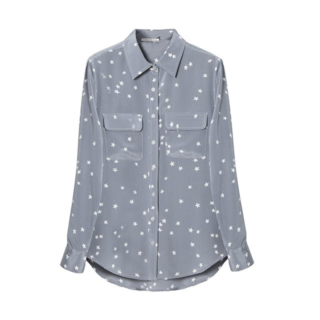 Women 100%Silk Crepe Button Star Printed Shirt 2019