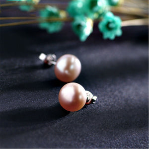 Round Freshwater Cultured Pearl & Sterling Silver Stud Earrings