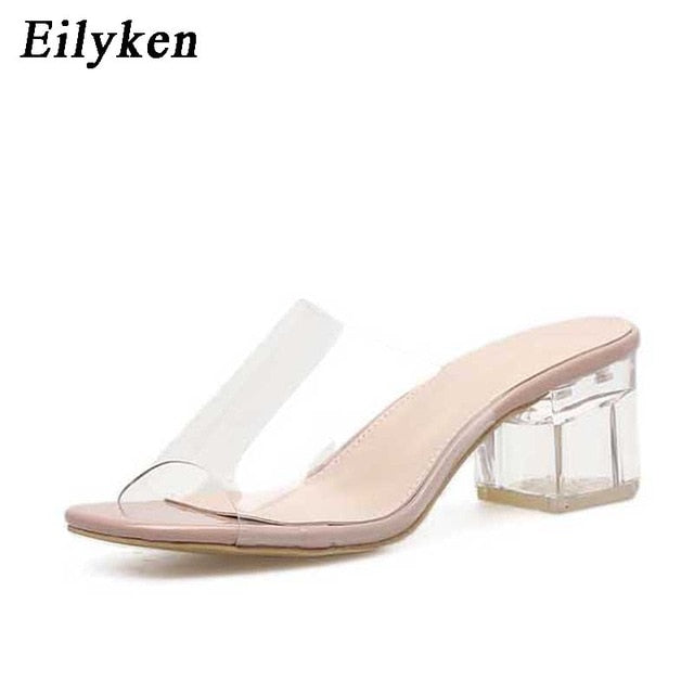 Women Leisure Crystal Square heel slippers