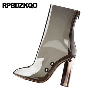 Women chunky transparent high heel Clear Boots