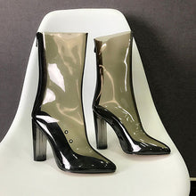 Charger l'image dans la galerie, Women chunky transparent high heel Clear Boots