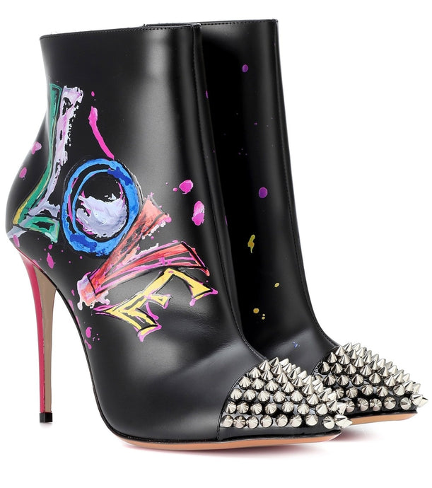 Women runway painted graffiti leather rivets ankle boots