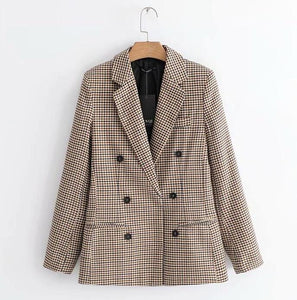 Women Spring 2019 Plaid Blazers