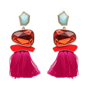 Women Fringed Statement Earrings Tassel