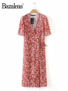 Women Short Sleeve summer Dress old pink hydrangea printed