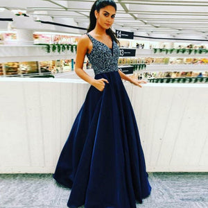 Women Blue Beaded & Tulle 2019 Prom Dresses