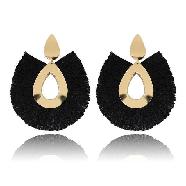 Women Tassel Earrings Big Fringe