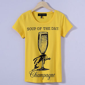 Women's printed short sleeve T-shirt Champagne pattern