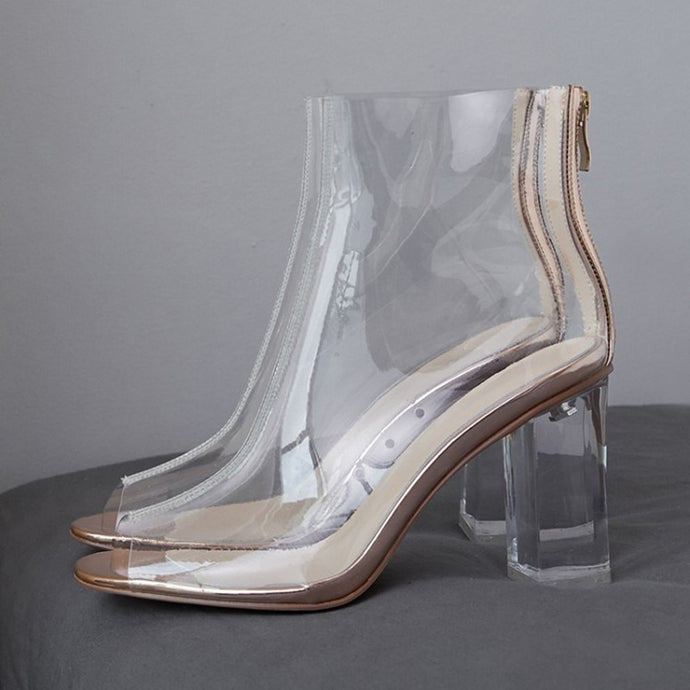 women pvc clear plastic chunky high heel ankle boots