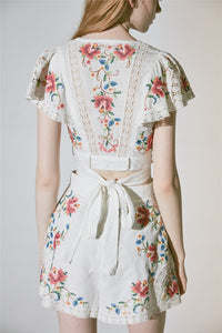 Women Runway Set Two Piece Summer Floral Embroidery Crop Top+Shorts Suits