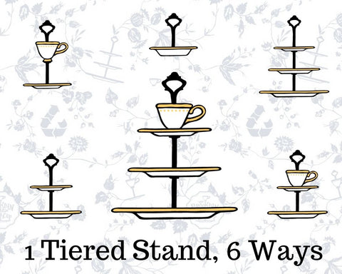 Tiered stand configurations - teacup & saucer, 2-Tier, 3-Tier, Ring Dish
