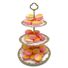 3 Tiered Cake Stand with Pink French Macarons by MiniMelanie