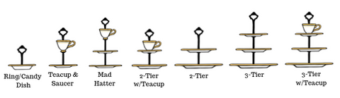 Configurations of tiered serving trays and cake stands - upcycle your vintage china