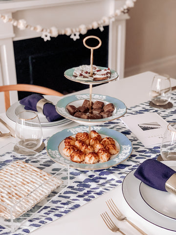 3-Tier Spode Blue Turqouise Vintage with Macaroons, Matzo chocolate toffee dessert on Passover Seder Table