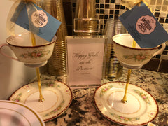 teacup and saucer stand party favor granny's fine china