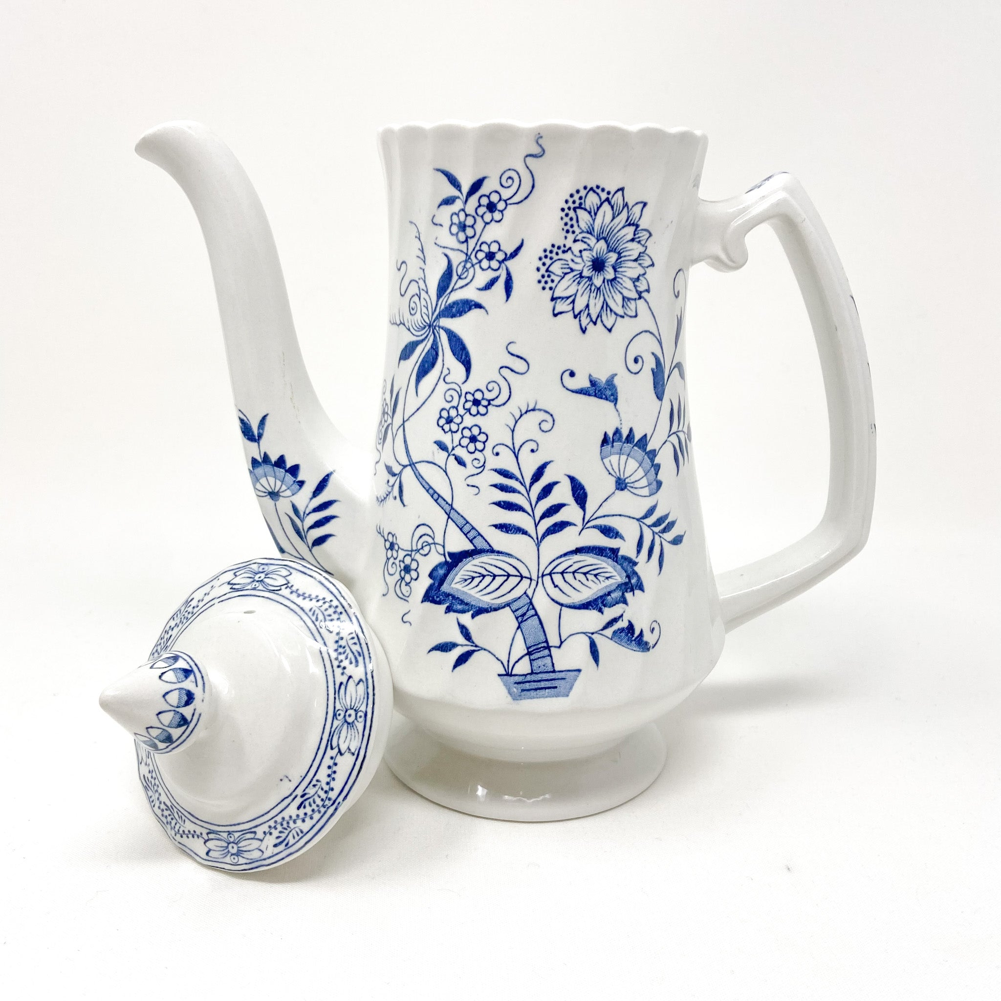 Tall coffee pot Blue Fjord Ironstone Wood & Sons England Genuine Hand Engraving Detergent Proof Old Staffordshire floral blue and white with lid removed scalloped rim