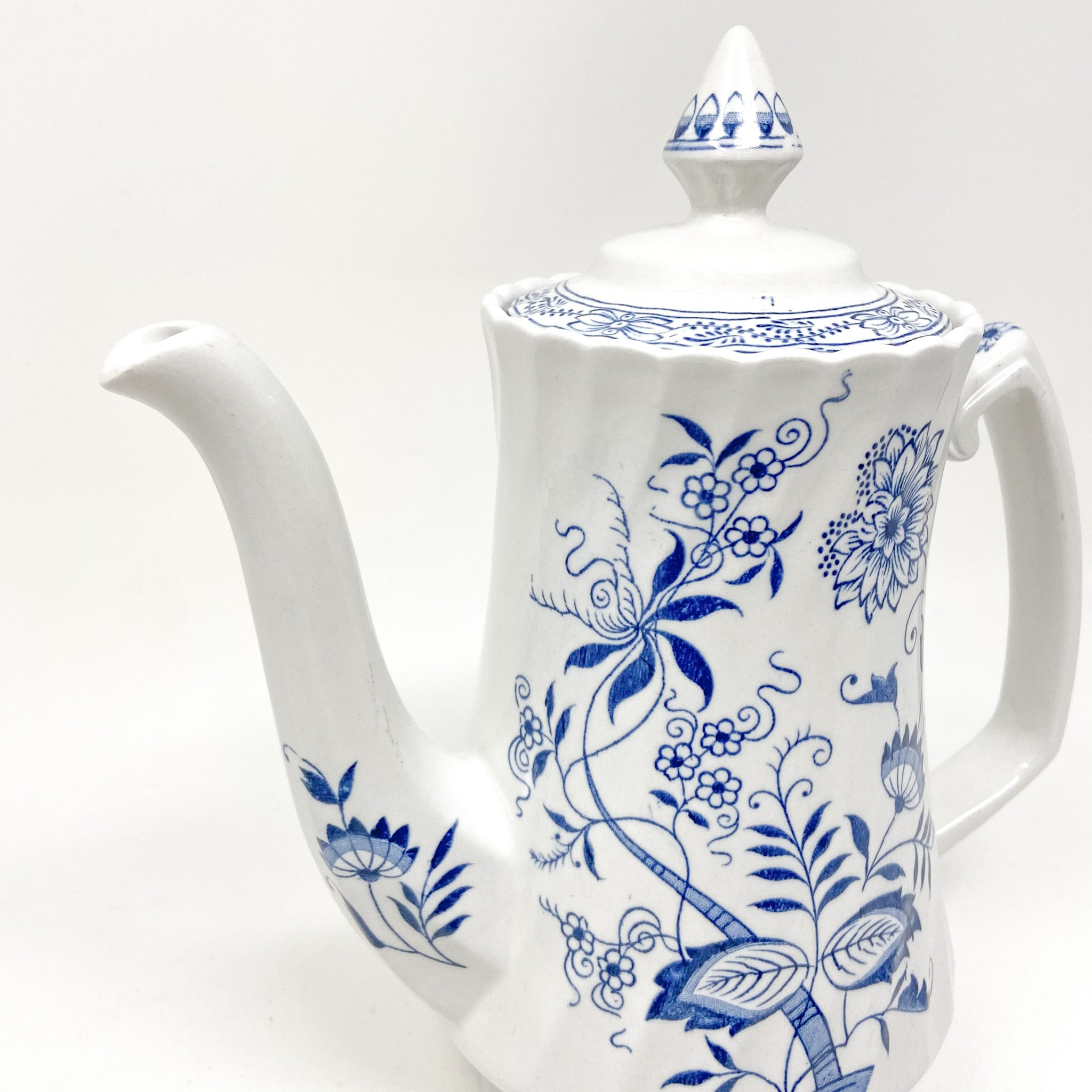 Tall coffee pot Blue Fjord Ironstone Wood & Sons England Genuine Hand Engraving Detergent Proof Old Staffordshire floral blue and white with lid removed scalloped rim point lid