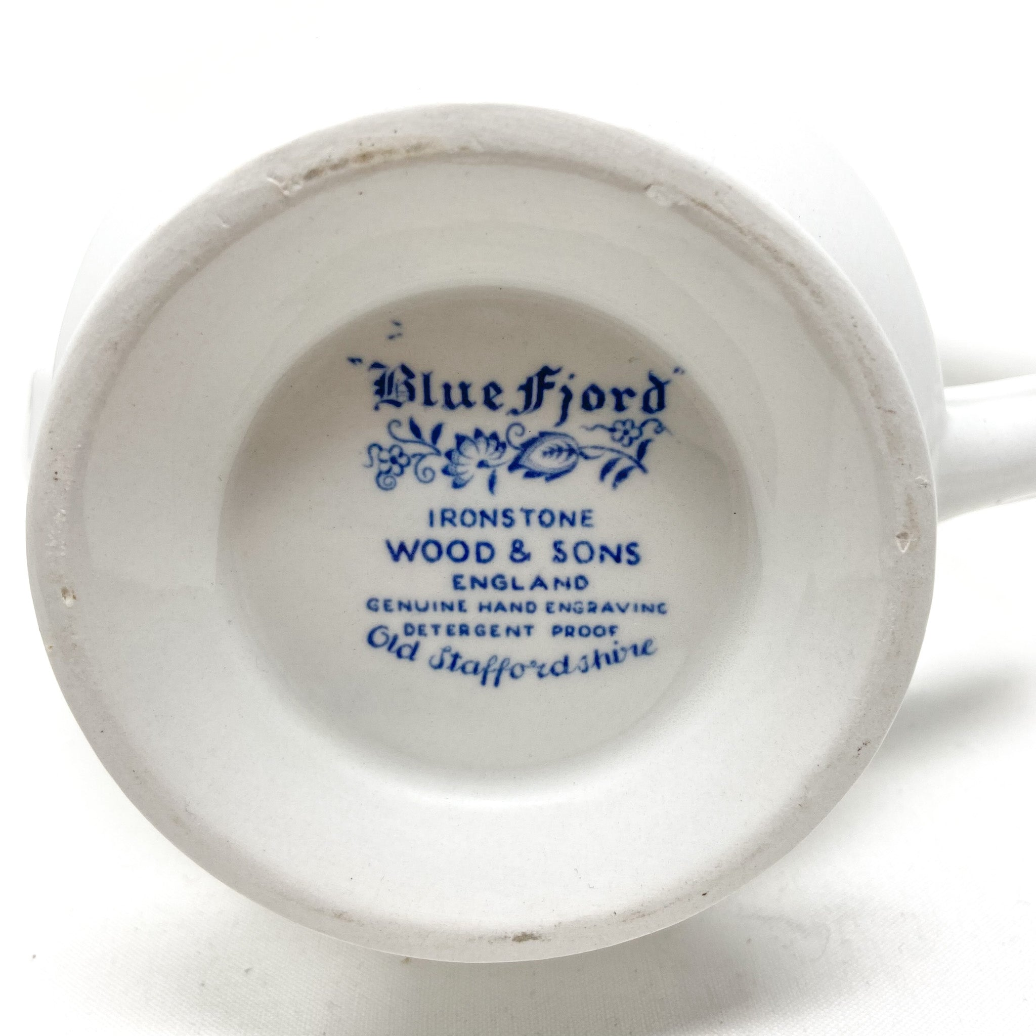 Blue Fjord Ironstone Wood & Sons England Genuine Hand Engraving Detergent Proof Old Staffordshire - stamp on bottom of coffeepot