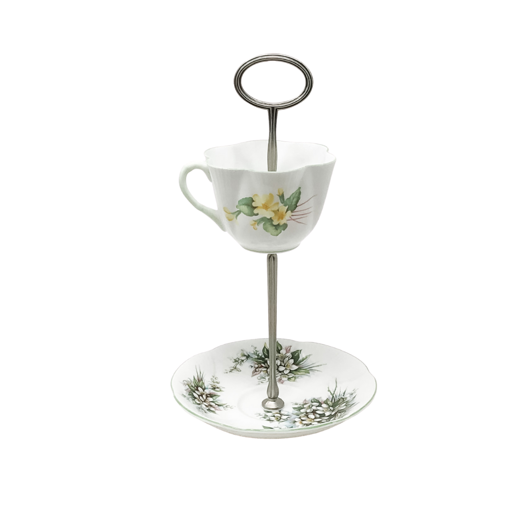 Shelley Royal Albert Green Floral Teacup & Saucer Stand Cake Stand 2-Tier | The Brooklyn Teacup