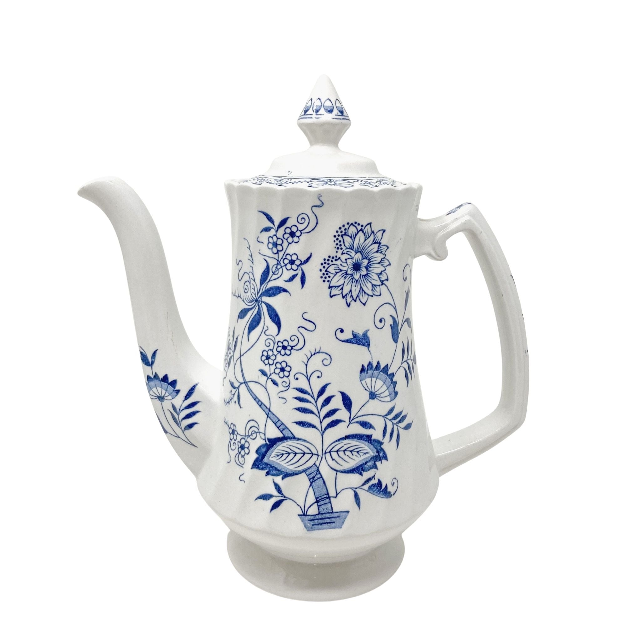 Tall transferware blue and white coffee pot Blue Fjord Ironstone Wood & Sons England Genuine Hand Engraving Detergent Proof Old Staffordshire floral design scalloped rim on handle and spout