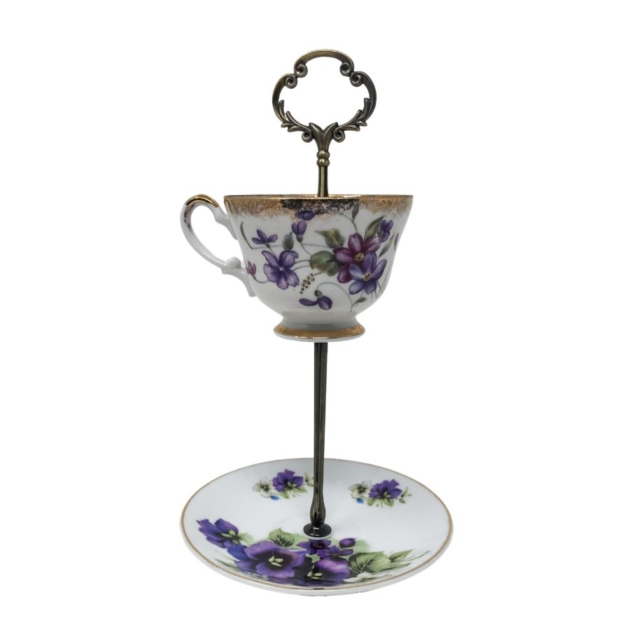 Antiqued Violets | Teacup & Saucer Stand | Assorted - The Brooklyn Teacup