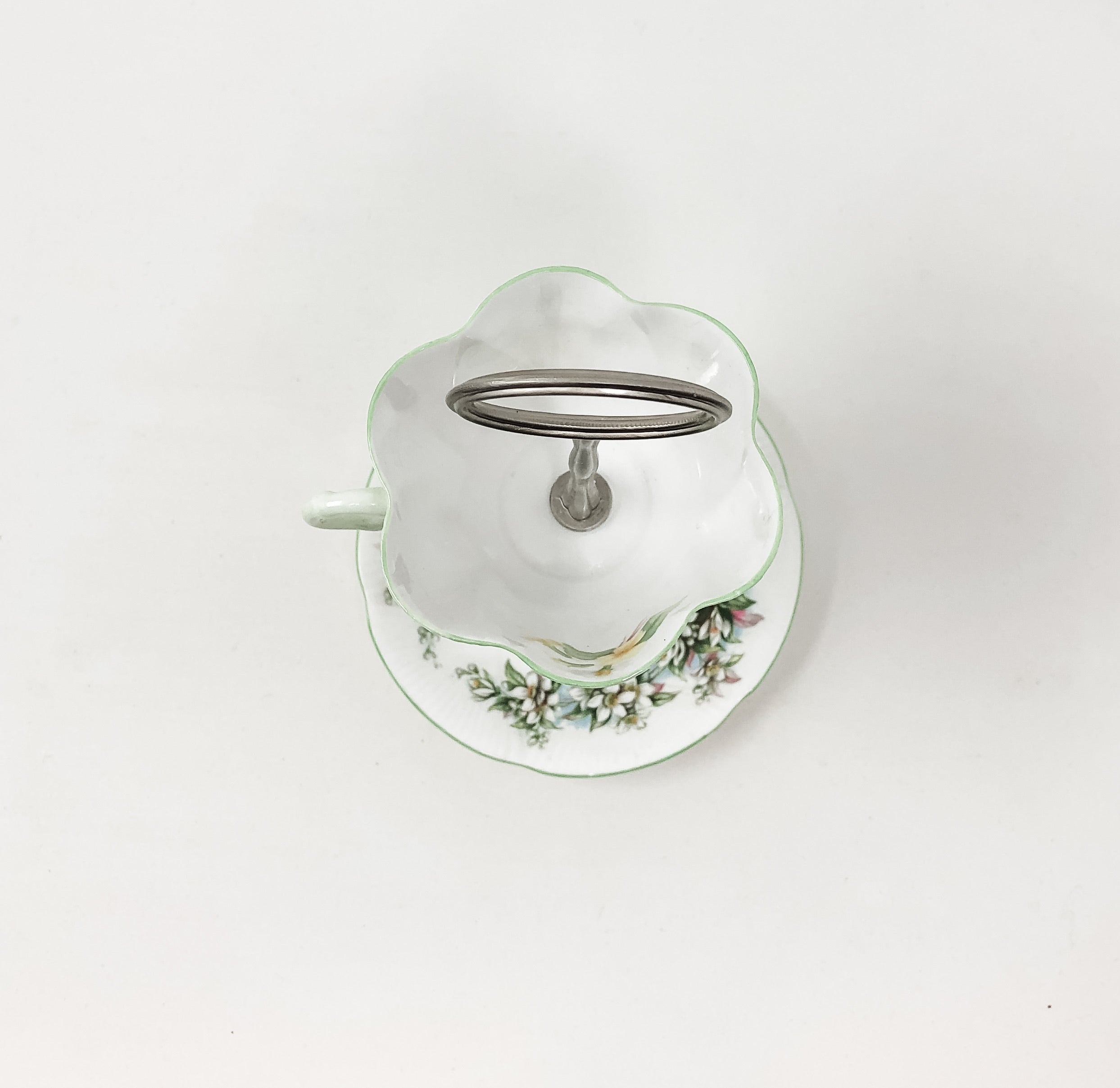 Shelley Royal Albert Green Floral Teacup & Saucer Stand Accessory Stand 2-Tier from above  | The Brooklyn Teacup