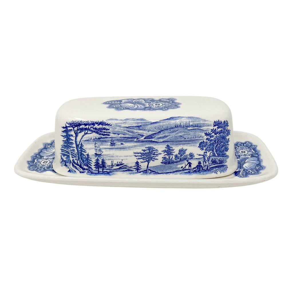 Liberty Blue Lafayette Landing | Butter Dish w/cover transferware vintage for 1/4 stick of butter