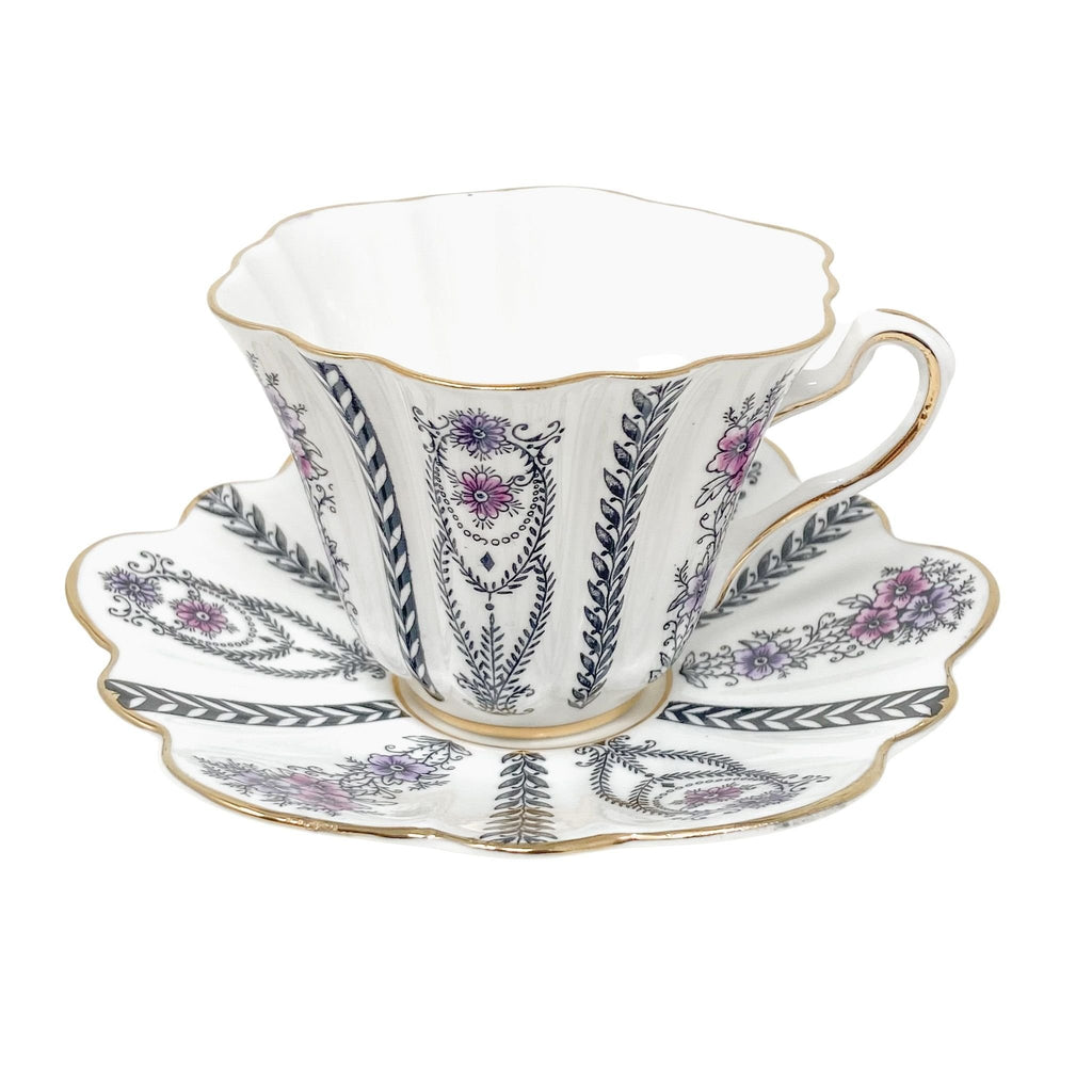 Rosina Black Laurels | Teacup & Saucer | Rosina - The Brooklyn Teacup