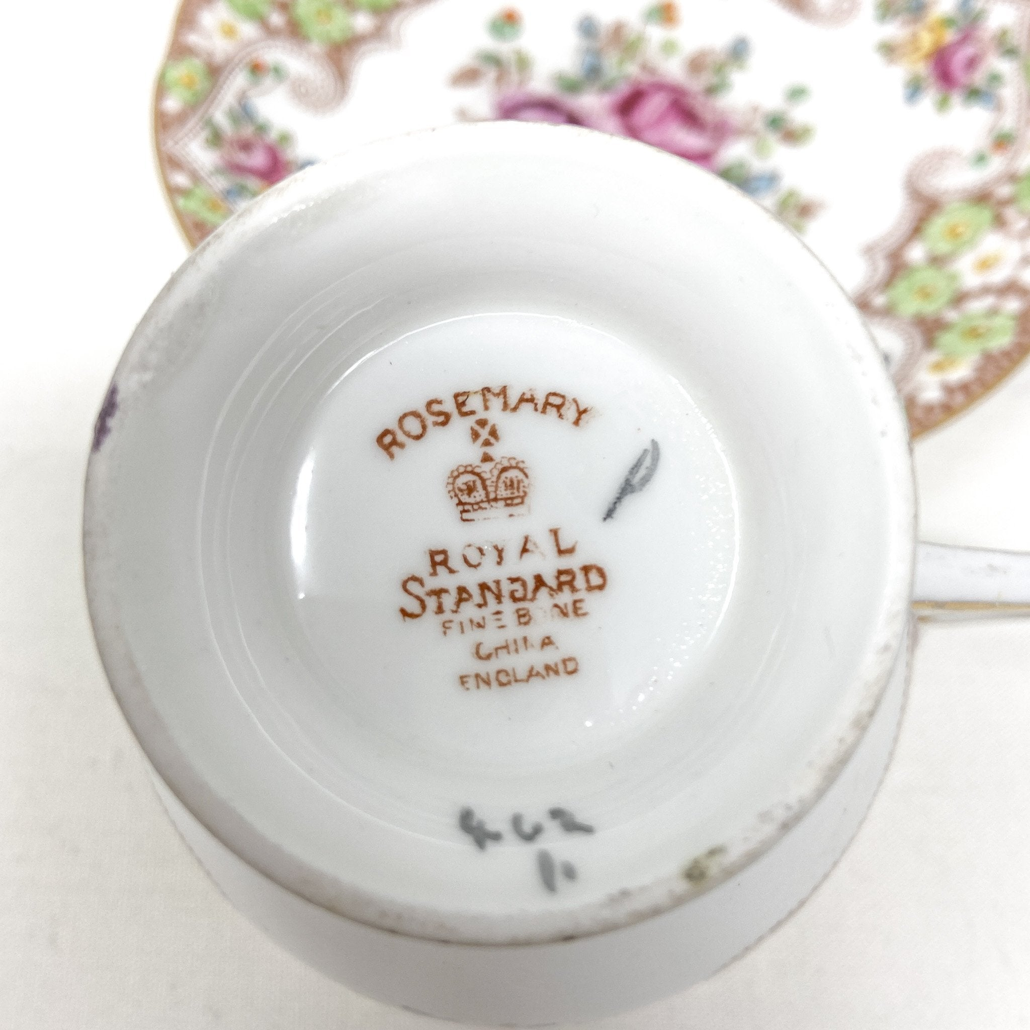 stamp of Royal Standard Rosemary | Teacup, Saucer & Strainer | The Brooklyn Teacup - reads Royal Standard, Rosemary, Fine Bone China, England