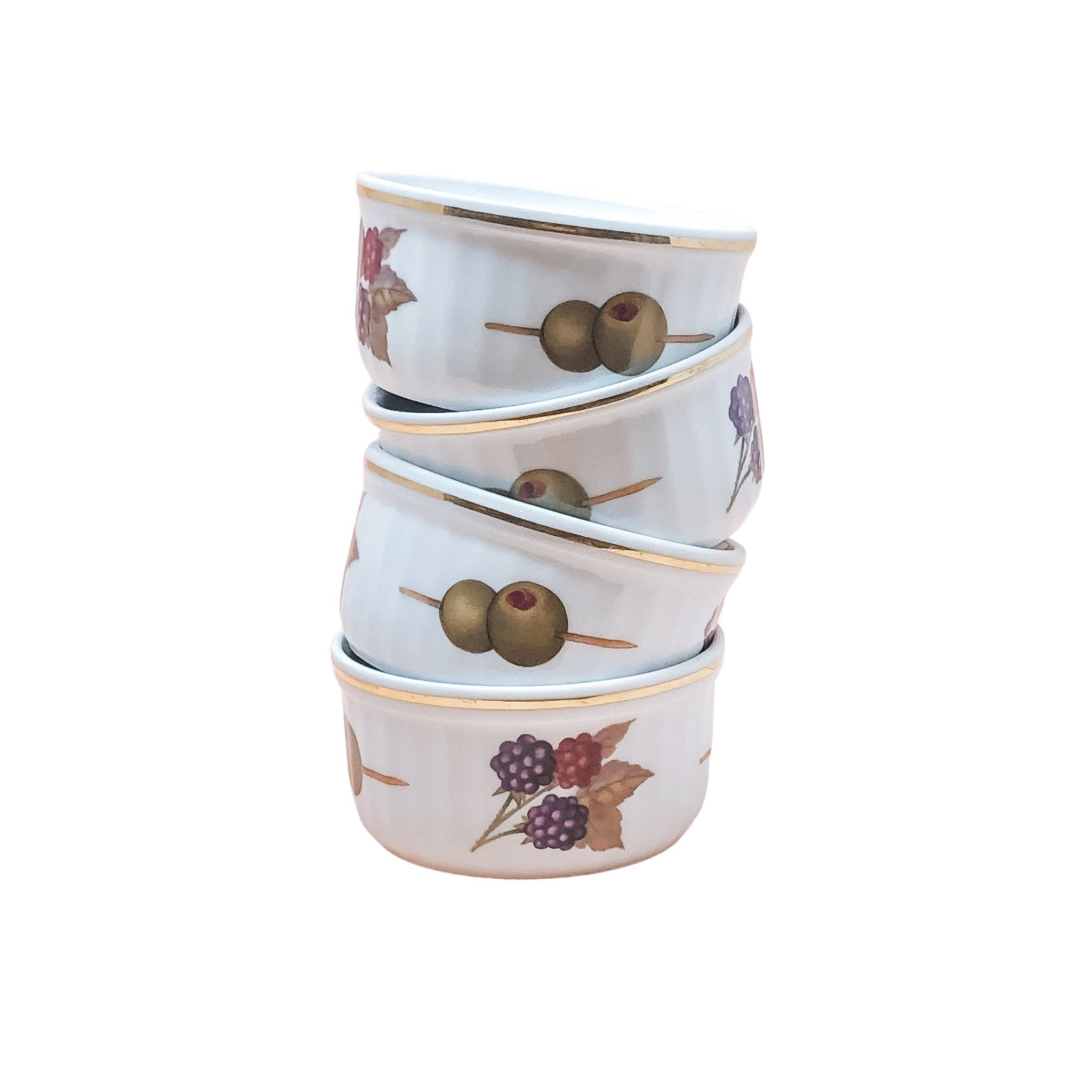 Royal Worcester Evesham | Ramekin and berry bowls (set of 4) | Royal Worcester - The Brooklyn Teacup