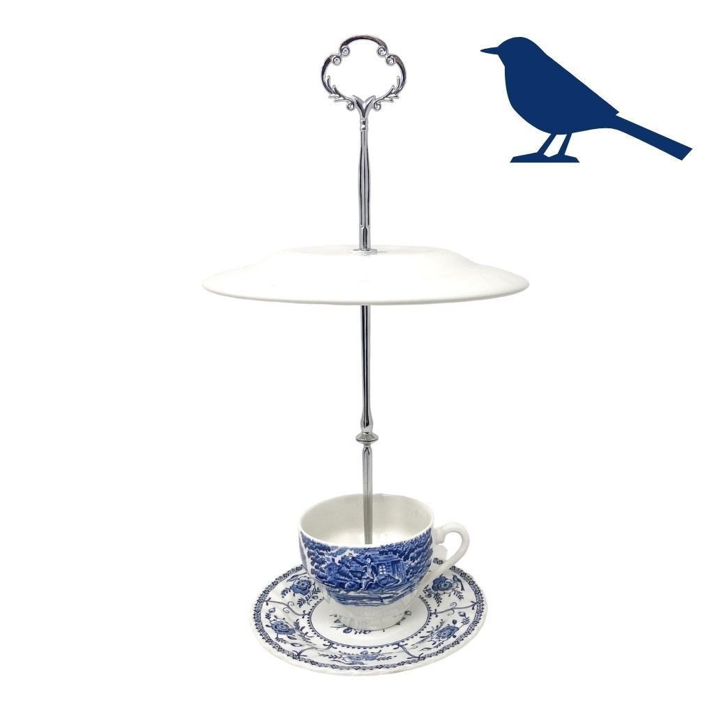 Signature Blue & White Bird Feeder | The Brooklyn Teacup - attract birds, for bird watching, vintage garden decor, upcycled yard decoration