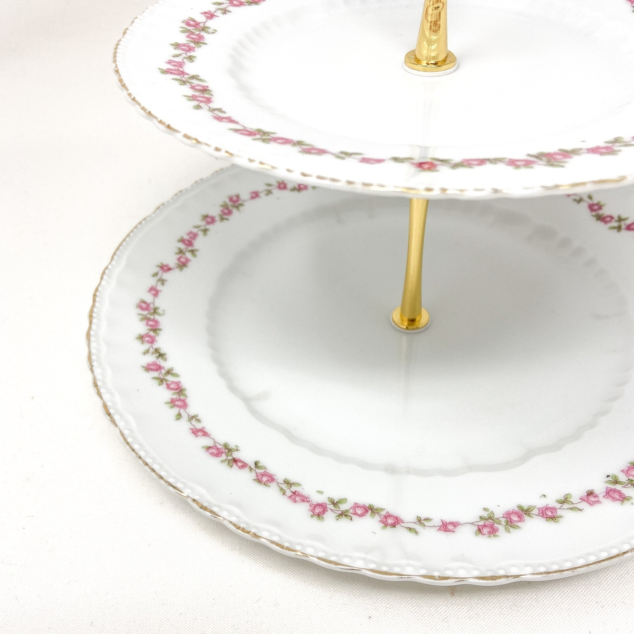Close up of Victoria Austria Delicate Rose 2-Tiered Stand | The Brooklyn Teacup