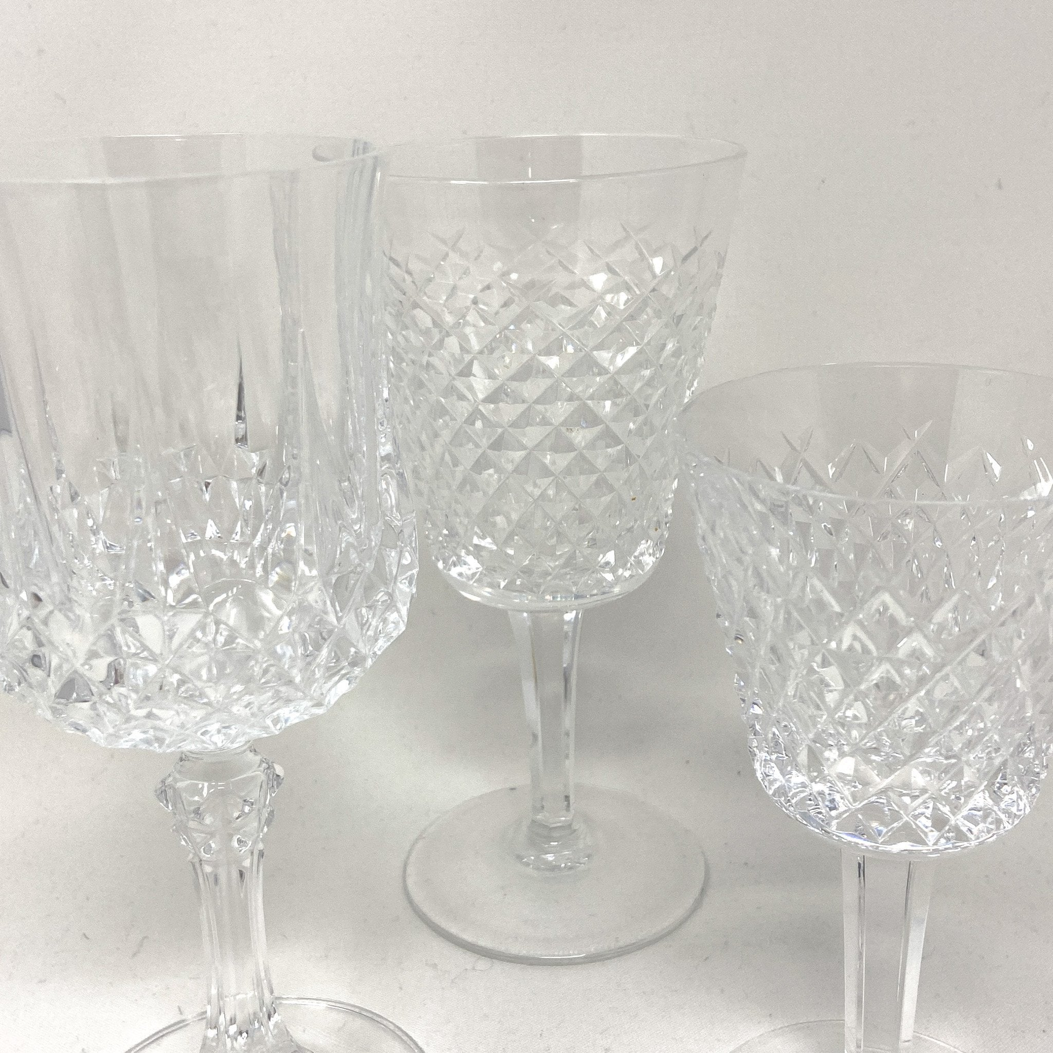 close up of Waterford Faceted Crystal Goblets | drinkware for dinner parties, holiday gatherings | The Brooklyn Teacup