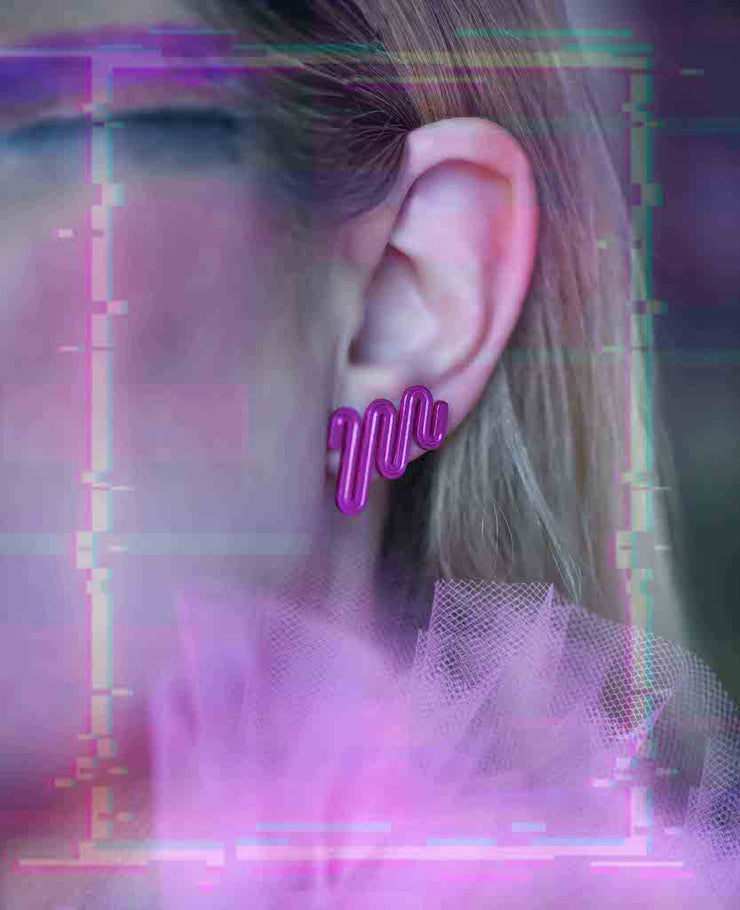 Electric Path Earrings - Hot Pink