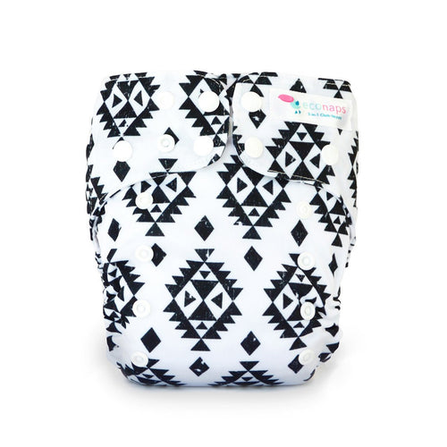 Eco Naps OSFM Cloth Nappy - Aztec Black