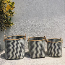 Load image into Gallery viewer, Chevron Black and White Woven Basket