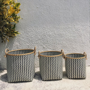 Chevron Black and White Woven Basket